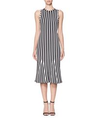 Victoria Beckham - White Wide-stripe Intarsia Kick-flare Dress - Lyst