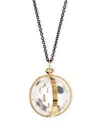 Monica Rich Kosann - Metallic 18k Gold & Black Steel Carpe Diem Crystal Pendant Necklace - Lyst