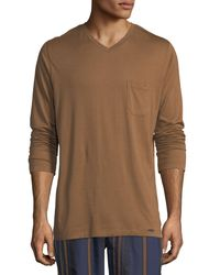 Hanro - Brown Long Sleeve Cotton Lounge Top for Men - Lyst