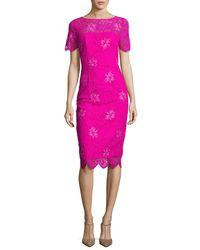 Lela Rose - Pink Floral Lace Short-sleeve Sheath Dress - Lyst