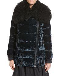 Moncler - Blue Isabelle Velvet Puffer Coat W/ Shearling Collar - Lyst