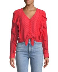 Bardot - Red Dobby Tie-front Frill Top - Lyst