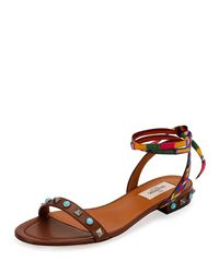 Valentino - Brown Rockstud Rolling Embroidered Flat Sandal - Lyst
