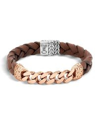 John Hardy - Metallic Men's Classic Chain Gourmette Bronze & Sterling Silver Bracelet On Braided Brown Leather Cord for Men - Lyst