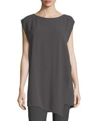 Eileen Fisher - Multicolor Bateau-neck Silk Georgette Crepe Tunic - Lyst