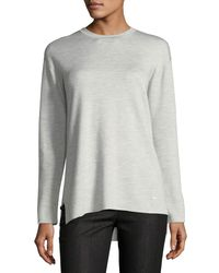 Akris - White Crewneck Long-sleeve Striped-back Knit Pullover Top - Lyst