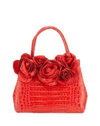 Nancy Gonzalez - Red Rose Daisy Crocodile Satchel Bag - Lyst