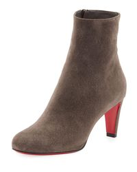 Christian Louboutin - Black Top Suede Red-Sole Boots - Lyst