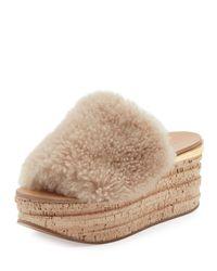 Chloé - Multicolor Camille Shearling Fur Platform Slide Sandals Sand - Lyst