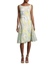 Rubin Singer - Yellow Iris-motif A-line Cocktail Dress - Lyst