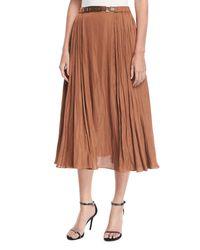 Halston Heritage - Brown Leather-detail Midi Skirt - Lyst