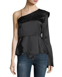 749b6f6849232 Lyst - Parker Cache One-sleeve Silk Blouse in Black