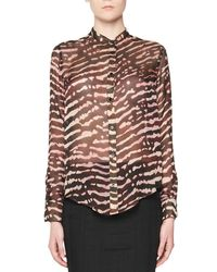 Tom Ford - Brown Animal-print Silk Blouse - Lyst