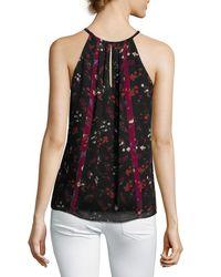 Joie - Black Hawn Sleeveless Floral-print Silk Top - Lyst
