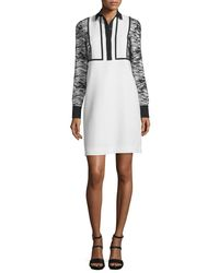 J. Mendel - White Long-sleeve Collared Cocktail Dress - Lyst