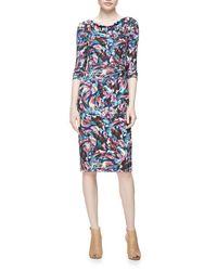 David Meister - Multicolor Long-sleeve Confetti Jersey Sheath Dress - Lyst
