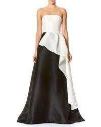 Carolina Herrera | Black Strapless Two-tone Faille Ball Gown | Lyst