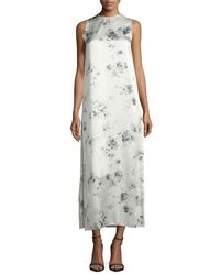 Calvin Klein   Gray Sleeveless Floral Silk Midi Dress   Lyst