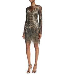 Naeem Khan - Gray Long-sleeve Fringed Cocktail Dress - Lyst