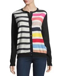 Neiman Marcus - Multicolor Cashmere Contrast-stripe Cardigan - Lyst
