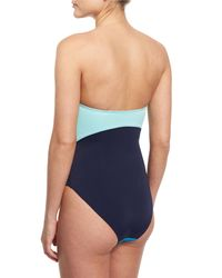Diane von Furstenberg | Blue Barbados Colorblock Bandeau One-piece Swimsuit | Lyst