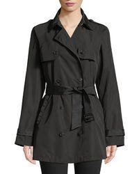 Emporio Armani - Black Zip-front Hooded Peplum Raincoat - Lyst