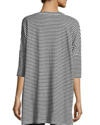 Eileen Fisher | Multicolor Striped Organic Linen Jersey V-neck Tunic | Lyst