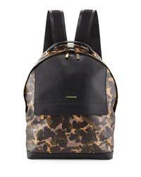 A.Testoni | Black Camouflage Leather Backpack | Lyst
