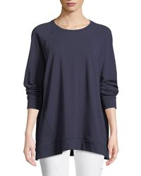 Eileen Fisher - Blue Slubby Organ Cotton Jersey Box Top - Lyst