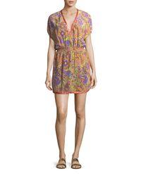 Etro - Multicolor V-neck Blouson Printed Silk Coverup Mini Dress - Lyst