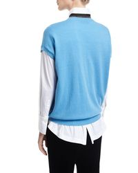 Brunello Cucinelli - Blue Cashmere Cap-sleeve Pullover With Monili Stripe - Lyst