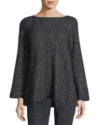 Lafayette 148 New York - Gray Bateau-neck Cashmere-blend A-line Sweater - Lyst