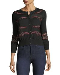 Neiman Marcus - Black Cashmere Placed-lace Crewneck Cardigan - Lyst