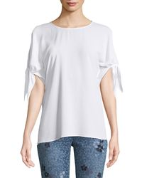 MICHAEL Michael Kors - White Cold-shoulder Bow-sleeve Top - Lyst