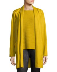 Eileen Fisher - Yellow Boiled Wool Jersey Long Jacket - Lyst
