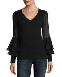 Neiman Marcus - Black Chiffon Ruffle-sleeve V-neck Superfine Cashmere Sweater - Lyst