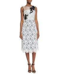 Oscar de la Renta - White Sleeveless Lace Cocktail Dress - Lyst