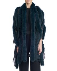 Gorski - Blue Fox Fur And Lace Shawl - Lyst