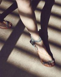 Valentino - Red Velvet Lace-up Flat Sandal - Lyst