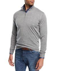 Peter Millar - Gray Merino Silk Quarter-zip Sweater for Men - Lyst