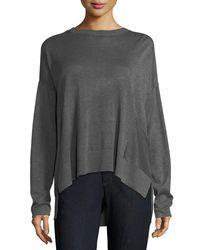 Eileen Fisher Gray Sleek Tencel®/wool Box Top W/ Patch Pocket