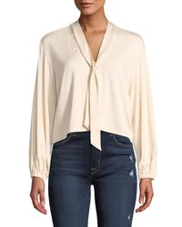 Rachel Pally - Natural Amelie V-neck Sash Tie Long-sleeve Cropped Jersey Top Plus Size - Lyst