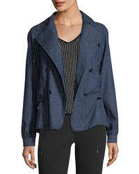 Emporio Armani - Blue Double-breasted Chambray Jacket - Lyst
