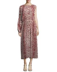 Robert Rodriguez   Red Leopard-print One-sleeve Silk Dress   Lyst