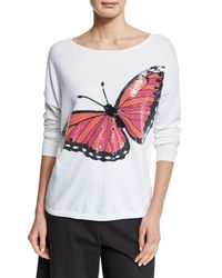 Joan Vass - Multicolor Long-sleeve Sequined Butterfly Sweater - Lyst