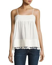 The Great - White The Park Pleated-trim Tank - Lyst