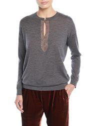 Brunello Cucinelli - Gray Monili Henley Cashmere-silk Pullover Sweater - Lyst