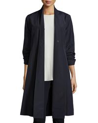 Eileen Fisher - Blue Organic-cotton/nylon A-line Knee-length Jacket - Lyst