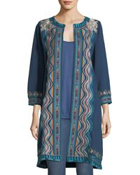 Johnny Was - Blue Yucatan Everyday French Terry Embroidered Coat - Lyst