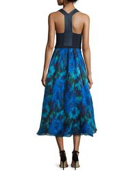 THEIA - Multicolor V-neck Racerback Combo Gown - Lyst